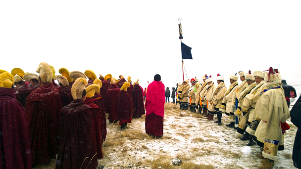 At this temple the Buddha protection team wore a white uniform - Labrang Monastery and Xiahe, Gansu