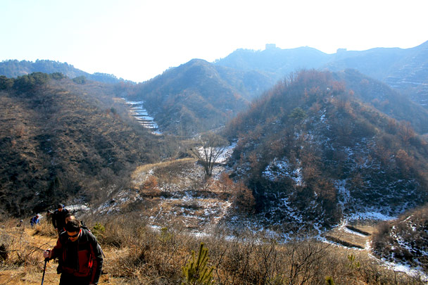 Still some snow left in the shaded areas - Hemp Village and the Gubeikou Great Wall, 2017/2/18