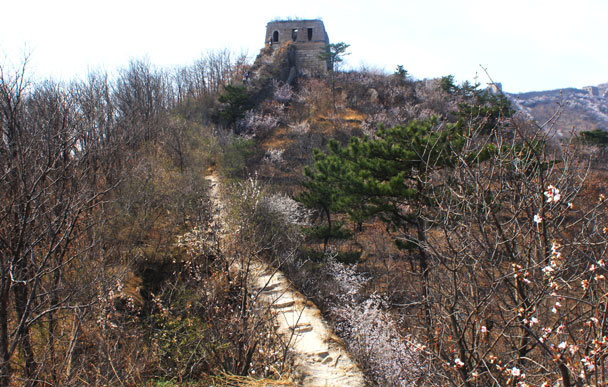 Looking back up towards the big tower - Walled Village to Huanghuacheng Great Wall, 2017/4/02