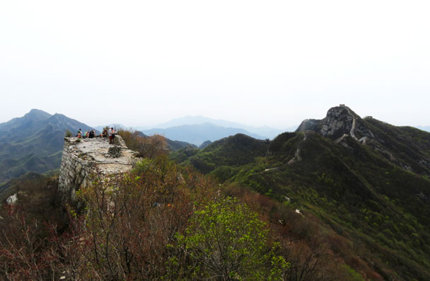 Up on the high point of the second day's hike - Camping at the Great Wall Spur, 2017/4/19