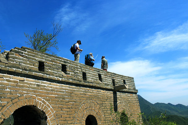 On top of a tower on the first peak - Walled Village to Huanghuacheng Great Wall, 2017/4/22