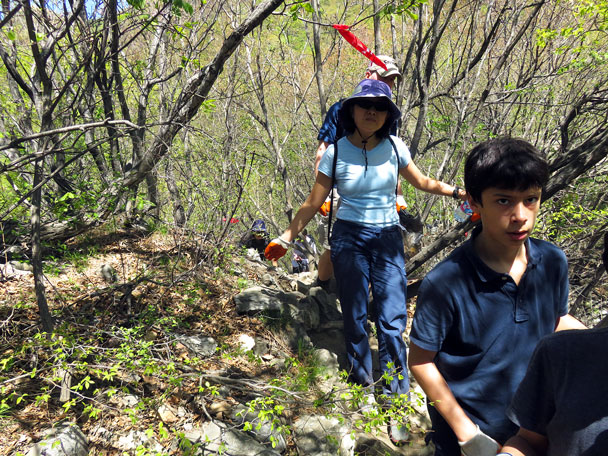 Almost up at the Great Wall - Earth Day clean up hike at the Jiankou Great Wall, 2017/4/23