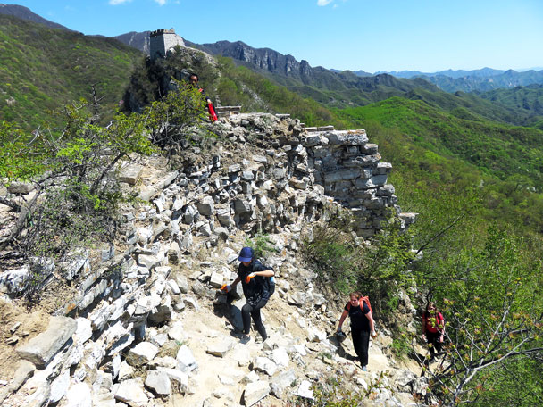 Coming around the corner and up on to the wall - Earth Day clean up hike at the Jiankou Great Wall, 2017/4/23