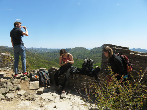 Taking a rest on the wall - Earth Day clean up hike at the Jiankou Great Wall, 2017/4/23