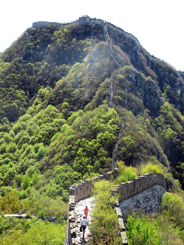 Approaching the steep section that leads up to the Chinese Knot - Earth Day clean up hike at the Jiankou Great Wall, 2017/4/23