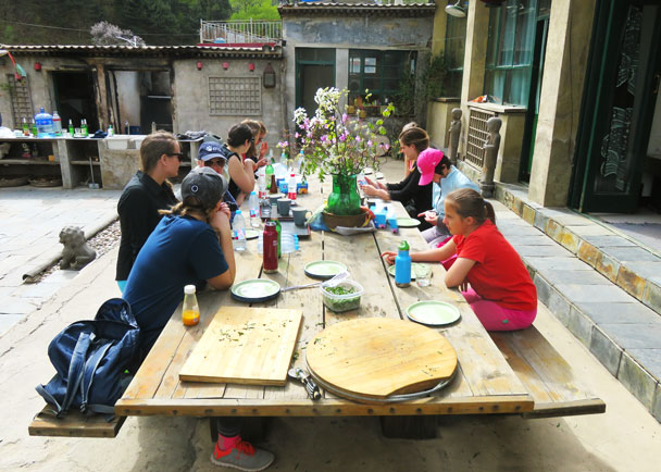 We cleaned up the pizza as well - Earth Day clean up hike at the Jiankou Great Wall, 2017/4/23