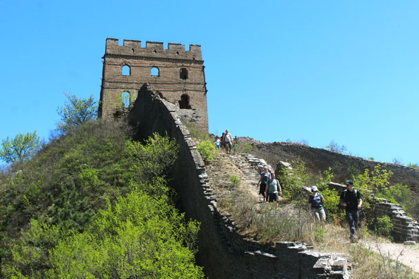 Looking back up to 24-Eyes Tower. Some of the damage to this tower was caused during fighting between Chinese and Japanese armies in the late '30s - Hemp Village to Gubeikou Great Wall, 2017/4/23