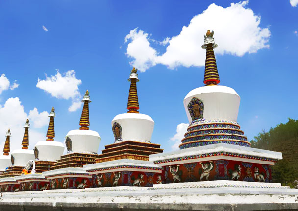The famous eight white pagodas represent the eight merits of Buddha - Qinghai Lake, Kumbum Monastery, and the Gangshika Snow Mountain, Qinghai Province, 2017/05