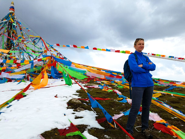 We hiked up Laji Mountain to where all the prayer flags were - Qinghai Lake, Kumbum Monastery, and the Gangshika Snow Mountain, Qinghai Province, 2017/05