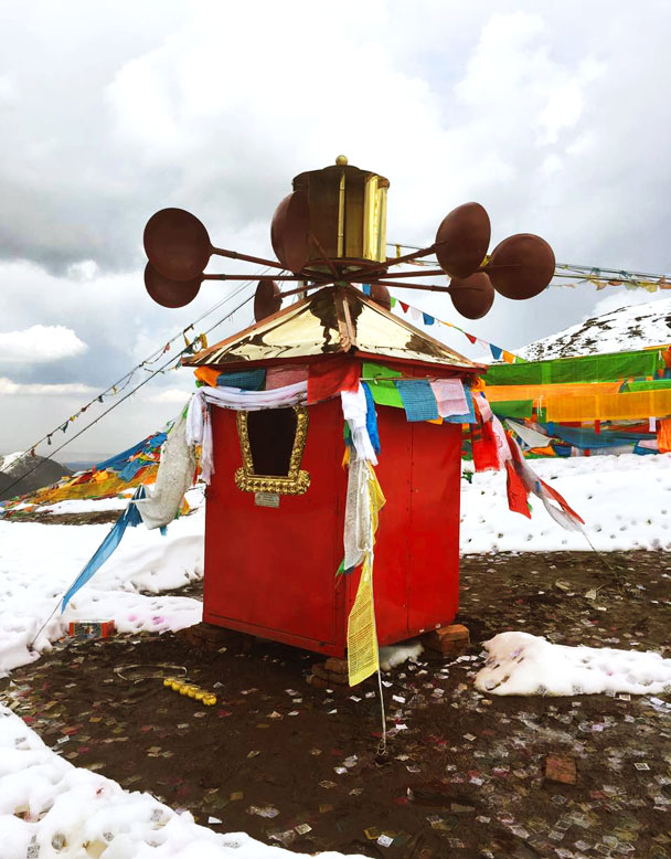 Wind-powered prayer wheel - Qinghai Lake, Kumbum Monastery, and the Gangshika Snow Mountain, Qinghai Province, 2017/05