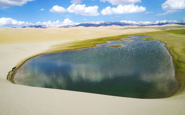 A patch of water that's separated from the lake - Qinghai Lake, Kumbum Monastery, and the Gangshika Snow Mountain, Qinghai Province, 2017/05