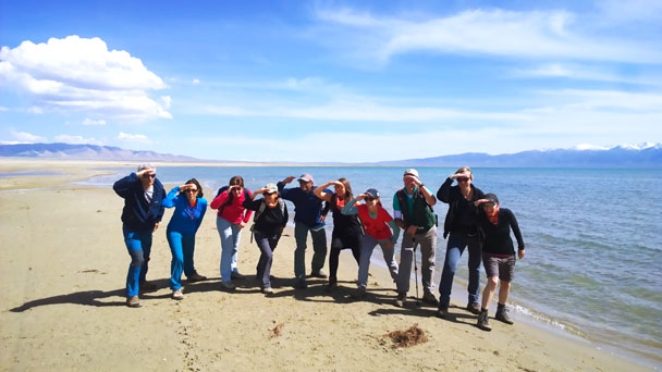 Group shot by the shore - Qinghai Lake, Kumbum Monastery, and the Gangshika Snow Mountain, Qinghai Province, 2017/05