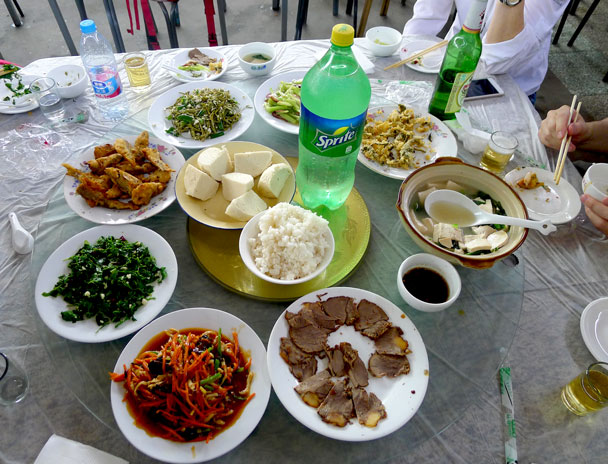 Here's our lunch, including a little bit of donkey - Yajishan Temple Fair, 2017/5/1