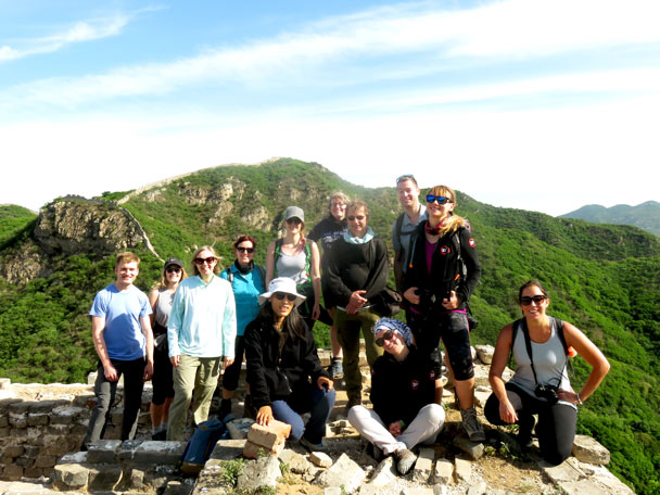 Group shot atop a tower - Switchback Great Wall Camping Trip, 2017/05/15