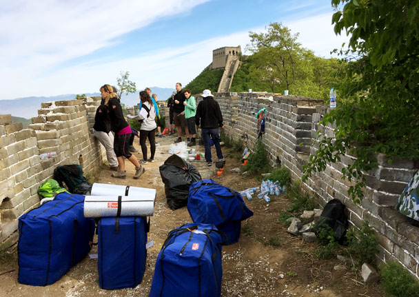 Packing up after breakfast - Switchback Great Wall Camping Trip, 2017/05/15