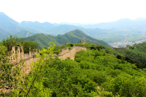 Views of the Great Wall. More wall crosses the hills in the distance - Walled Village to Huanghuacheng Great Wall, 2017/6/3