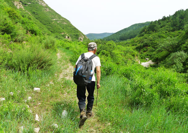 Local guide Mr Li leads the way up the valley - Shuitou Village Loop hike, 2017/7/15