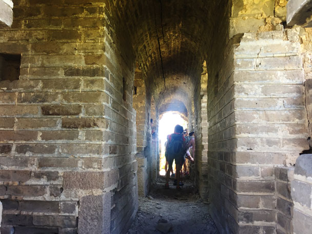 We took a break in a tower to escape the sun for a while - Walled Village to Huanghuacheng Great Wall Hike, 2017/08/06