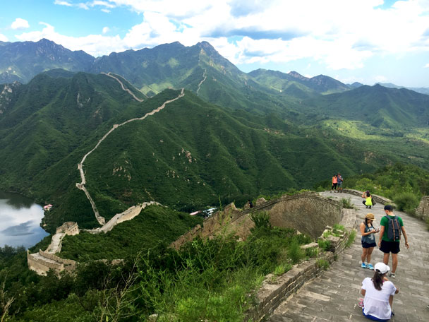 Standing at the highest point of the repaired section - Walled Village to Huanghuacheng Great Wall Hike, 2017/08/06