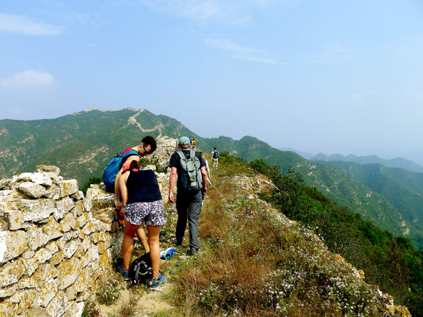 From this point we were on the wall most of the way, first heading for the high point in the background - Zhenbiancheng and Big Camp Plate Great Wall, 2017/9/16
