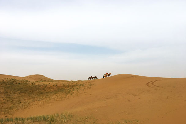 Just like Silk Road traders crossing the desert - Alashan Desert Lakes and Temple, Inner Mongolia, 2017/10