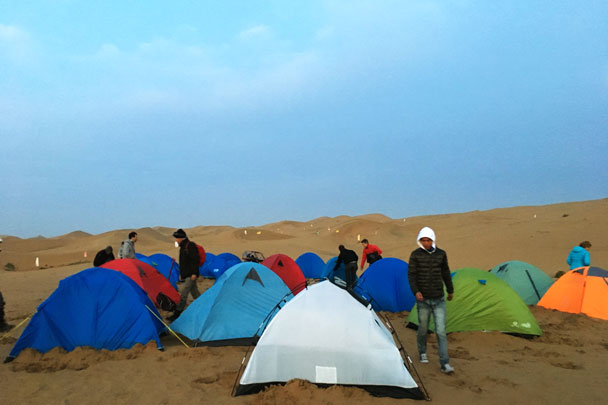 Tents all set up before dark - Alashan Desert Lakes and Temple, Inner Mongolia, 2017/10