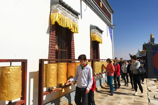 Prayer wheels in the temple - Alashan Desert Lakes and Temple, Inner Mongolia, 2017/10