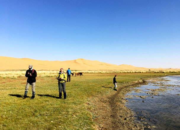 Walking by an oasis in the desert. You can spot a lot of migrating birds by these lakes, especially in October - Alashan Desert Lakes and Temple, Inner Mongolia, 2017/10