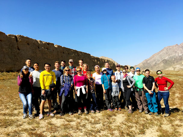 Team photo by the wall in the Helan Mountains - Alashan Desert Lakes and Temple, Inner Mongolia, 2017/10