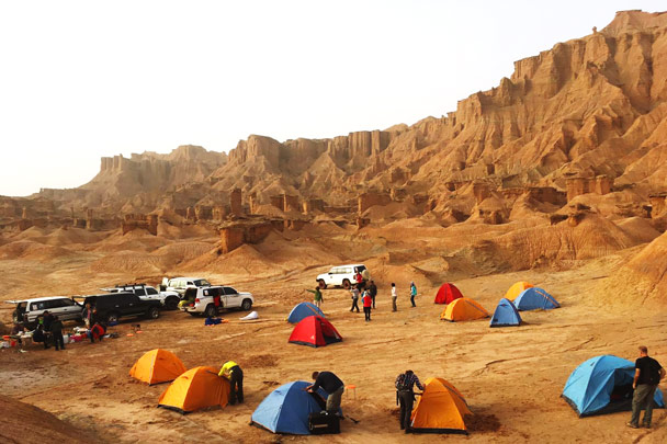 Camping in the Baicheng Landform - Along the Silk Road from Korla to Kashgar, October 2017