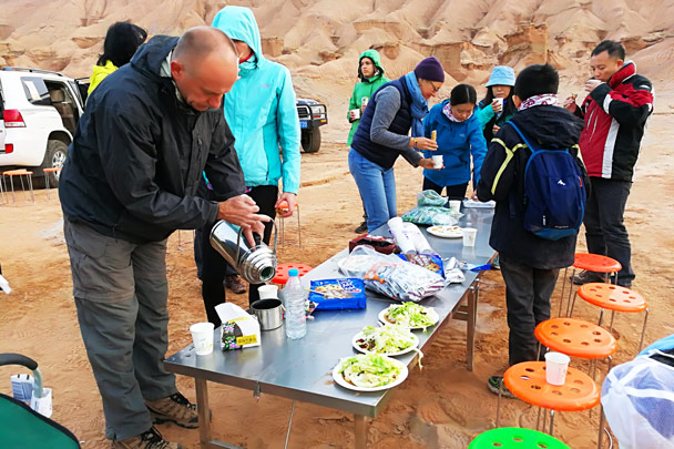 Snacks at the campsite - Along the Silk Road from Korla to Kashgar, October 2017