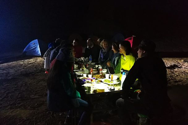 Dinner at the campsite. During the night we heard an animal prowling around our tents – thought it might have been a fox! - Along the Silk Road from Korla to Kashgar, October 2017