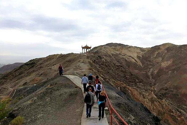 A hike in the hills by Tiemen Gate, near Korla. The gate controlled a pass in the mountains here - Along the Silk Road from Korla to Kashgar, October 2017