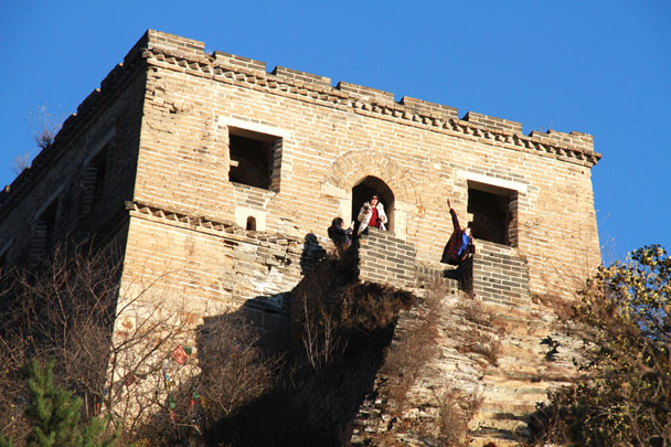 A steep climb get you up to this tower - Danish Embassy Great Wall hike and team trip, 2017/07/11