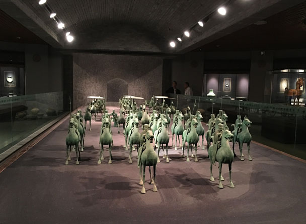 Bronzed horses in an honour guard formation, from the Eastern Han Dynasty period. (25-220 AD) - Lanzhou Danxia Landform, Yellow River, and Bingling Temple, 2017/12