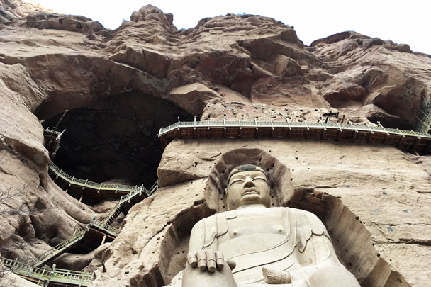 This carved Buddha was repaired in 2011 - Lanzhou Danxia Landform, Yellow River, and Bingling Temple, 2017/12