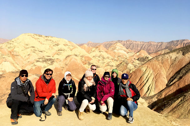 Group shot at the Lanzhou Danxia - Lanzhou Danxia Landform, Yellow River, and Bingling Temple, 2017/12
