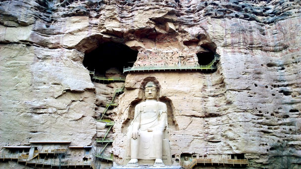 The giant Buddha at Bingling Temple - Lanzhou Danxia Landform, Yellow River, and Bingling Temple, 2017/12