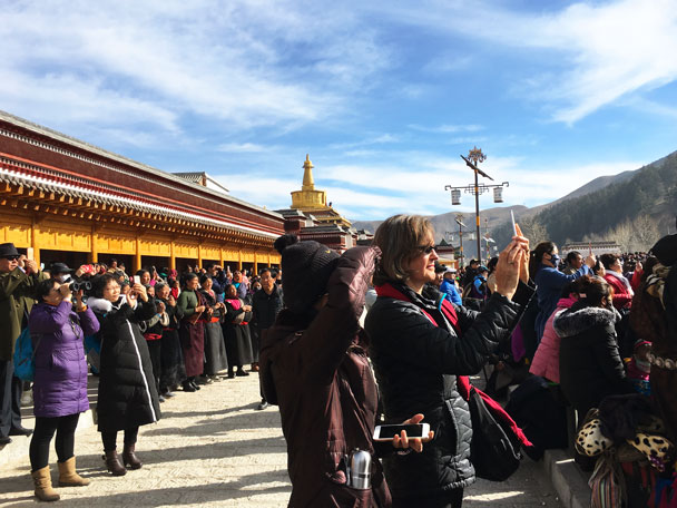 We were viewing from the other side of the river - Unveiling the Buddha at Labrang Monastery, 2018/02