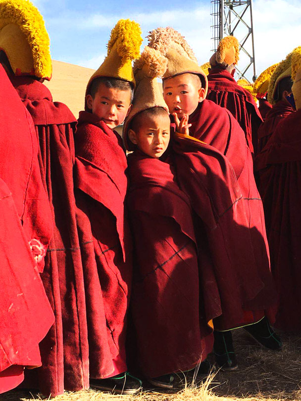 Some little monks at White Cliff monastery - Unveiling the Buddha at Labrang Monastery, 2018/02