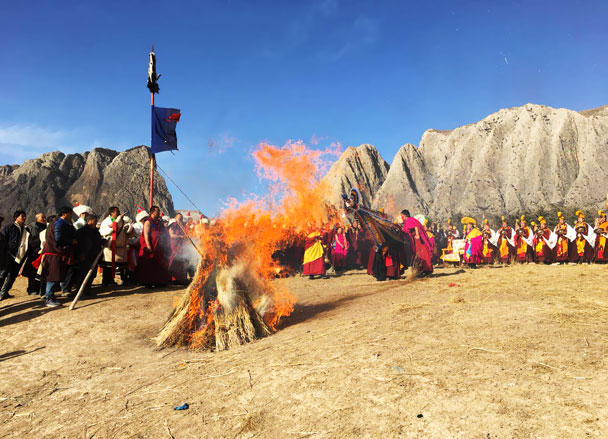 Part of a prayer ceremony at White Cliff monastery - Unveiling the Buddha at Labrang Monastery, 2018/02