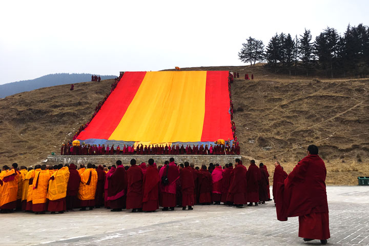 'Unveiling the Buddha' at Labrang Monastery, 2018/02/16 photo #4