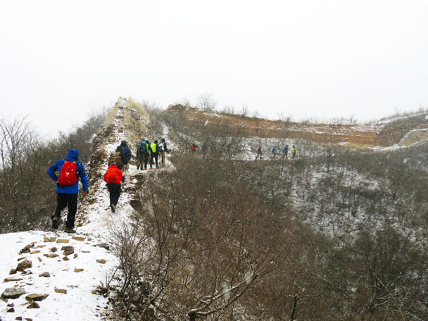 The hike started at the Gubeikou section - Gubeikou to Jinshanling snow hike, 2018/03/17