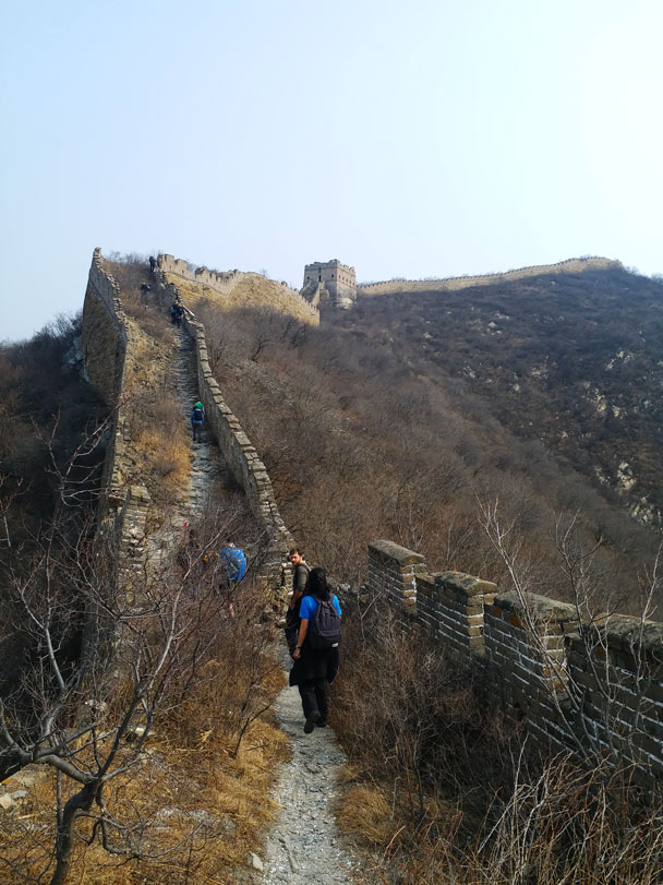 We hiked up along the wall - Great Wall Spur hike, 2018/03/21
