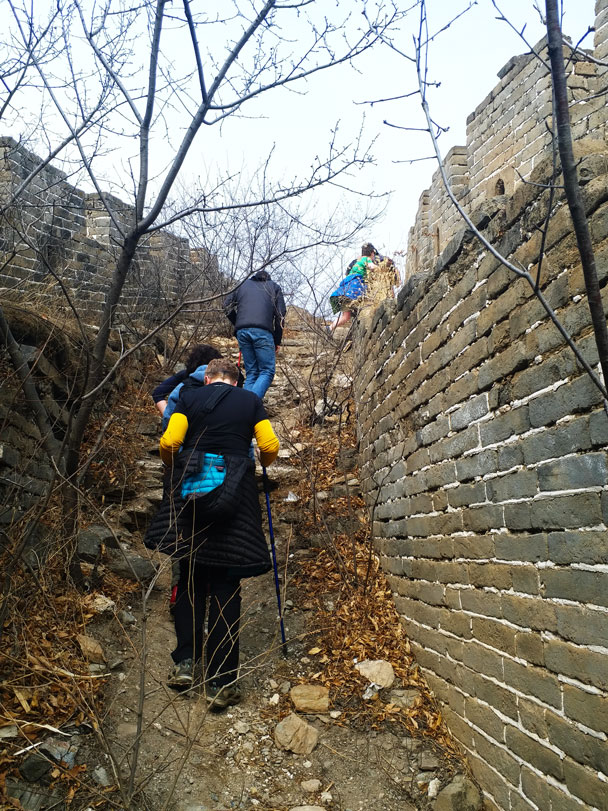 Stairs led up on to the Great Wall - Great Wall Spur hike, 2018/03/21
