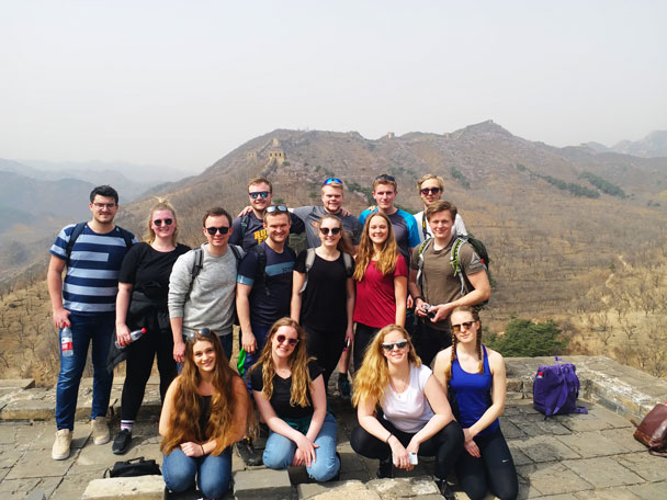 The hiking team on top of a tower - Huanghuacheng Great Wall to the Walled Village, 2018/03/29