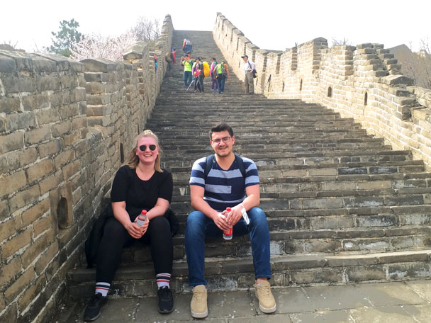 Taking a break on the stairs - Huanghuacheng Great Wall to the Walled Village, 2018/03/29