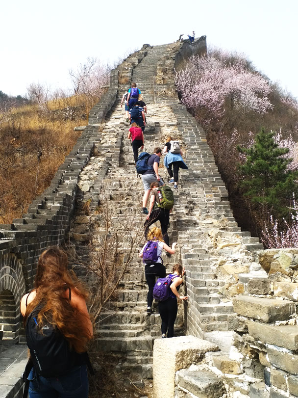 A steep climb on a rough section of Great Wall - Huanghuacheng Great Wall to the Walled Village, 2018/03/29