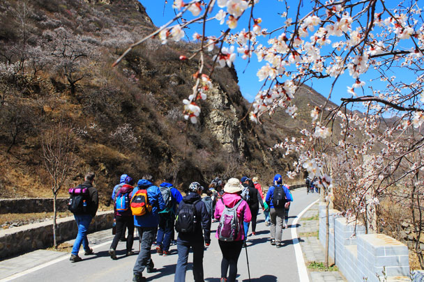 We were hiking up to the end of the long valley - Girl Scouts hike at Changyucheng, 2018/04/14