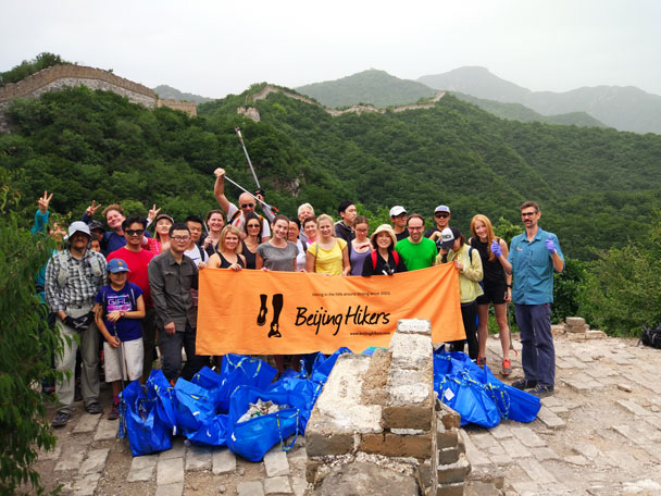 The clean up crew on the wall, with our haul of trash - Waste-Free Wall clean up hike with Gung Ho and Patagonia, 2018/06/03
